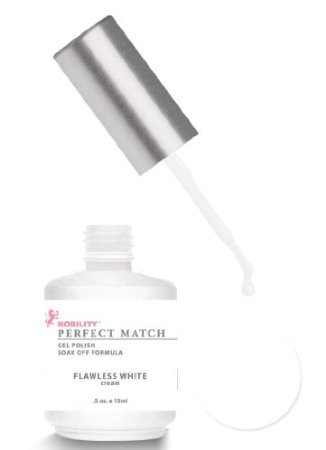 LeChat Perfect Match DUAL SET Soak Off Gel Polish & Dare to Wear Nail Lacquer - Flawless White - PMS07 by Jubujub