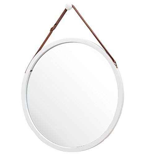 Round Wall-Mounted Mirror with Leather Hanging Strap (Adjustable) Bamboo Frame Mirror for -