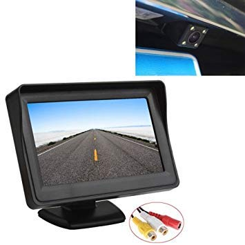 Uniqus PZ601-C TFT LCD 2 Video Input 4.3 Inch Parking Monitor 2 in 1 with 648  488 Pixels Rear View Camera Glass Lens with 6m RCA Video Cable