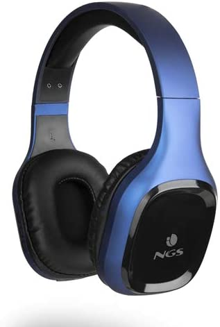 NGS Artica Sloth Blue - Auriculares inalámbricos compatibles con Tecnología Bluetooth 5.0 (10h de autonomía, micrófono, Micro USB) Color Azul.