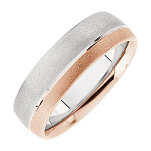 14K Rose White Gold 14K With Pink Bridal Design Duo Band, Size: - Design Duo Bridal Band Pink