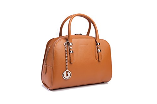 Charles Jourdan H1225 Sumptuous Saffiano Leather Pecan Tan Karida Dome Satchel Shoulder Bag
