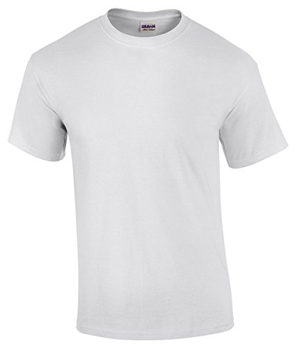 Gildan Adult 5.5 oz 100% Cotton Short Sleeve T-Shirt in White - Large