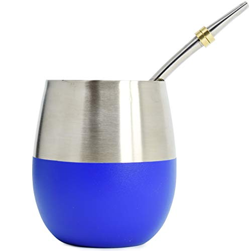 (Novomates Yerba Mate Gourd 8oz (237ml) - Best Yerba Mate Set - Double Wall Stainless Steel Yerba Mate Cup With Stainless Steel Mate Bombilla Straw (Metalic Blue))