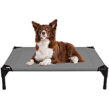 Veehoo Cooling Elevated Dog Bed, Portable Raised Pet Cot with Washable & Breathable Mesh, No-Slip Rubber Feet for Indoor & Outdoor Use, Medium, Silver Gray