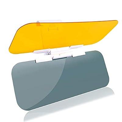 VZCY 2 in 1 Car Sun Visor, [Upgrade] Day Night Anti-Glare Visor Sun Visor Extender, Universal Sunshade Mirror Goggles Shield, Night Vision Anti-Dazzle Windshield Driving Visor