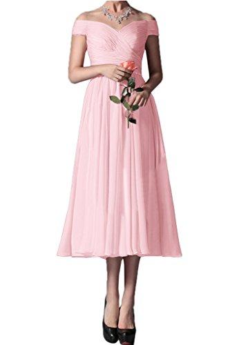 Elegante a Rosa ivyd spalla vestito ressing Donna abito abito Prom knoeche Chiffon dalla Festa llang sera Party partire qSEHU