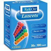 Relion 30g Ultra Thin Color Lancets 100ct