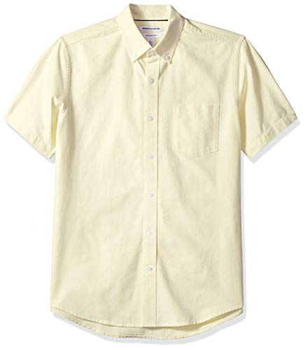Amazon Essentials Men's Regular-Fit Short-Sleeve Pocket Oxford Shirt, Yellow, Large Classic Cotton Oxford Shirt