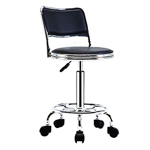 Bar Chair, Rotating Bar Stool Wheeled Bar Chair Can Lift Stool Seat Height Black