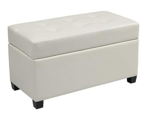 Office Star Metro Storage Ottoman in Vinyl, White