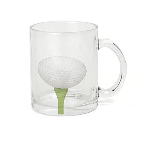 (Glass Coffee Cup Mug - Golf Ball Tee)
