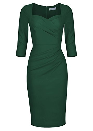 Celebrity Inspired Prom Dresses (Newdow Lady Celebrity Classic Pleated Inspired Pencil Dress (XX-Large, Dark Green))