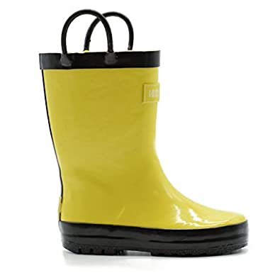 Yellow//Black Navy Pink//Purple Solid Colors Mucky Wear Childrens Rubber Rain Boots Green Red//Black