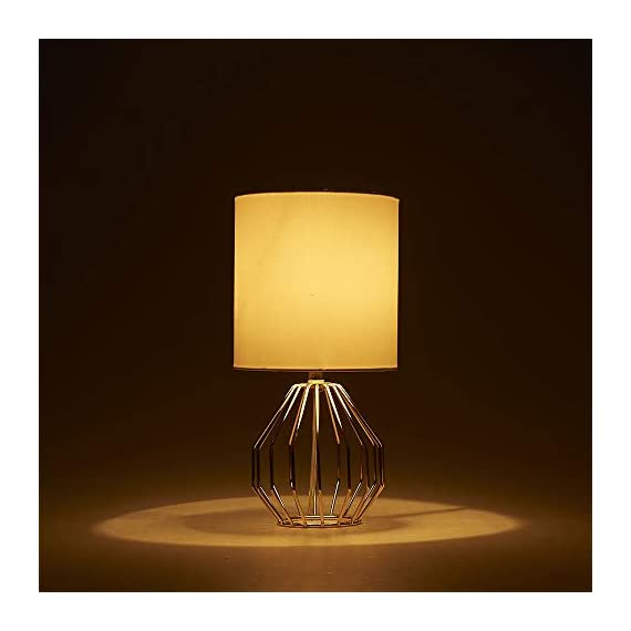 COTULIN Table Lamp,Gold Lamps for Bedroom,Modern Hollowed Out Base Small Table Lamp with White Fabric Shade for Living Room - Size:Height 14.37 inch,diameter 7.09 inch.Please note the size before purchasing. Input:AC 110V-120V,max 60W,E26 socket,fits LED CFL incandescent bulbs(bulb not included). High Quality:All of our products are produced in the standard factory,possessing long service life. - lamps, bedroom-decor, bedroom - 31aqx8Wgk6L. SS570  -