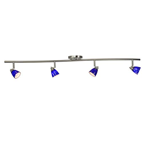 Direct-Lighting 4 Light Adjustable Track Light, Brushed Steel Finish, Blue Glass Shade, Ready to Install, Bulb Included, D268-44C-BS-BLS