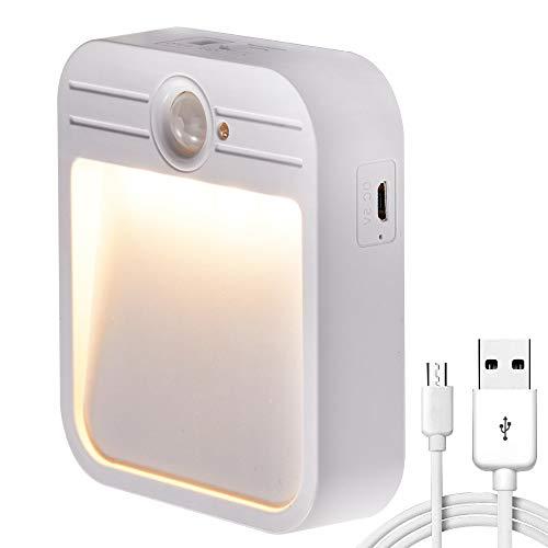 MSD Motion Sensor Outdoor LED Light, Cordless USB Rechargeable Magnetic Night Light, Stick-anywhere Closet Lights Stair Lights, Safe Lights for Hallway, Bathroom, Bedroom, Kitchen, Entrance, Basement, ()