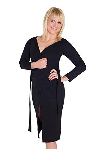 vestido de jersey vestido de punto HO-Ersoka de manga larga abotonada con la correa Negro