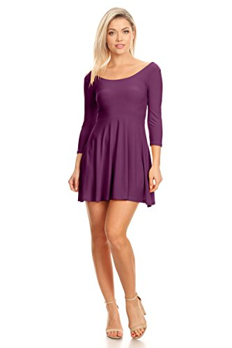 - Purple Long Sleeve Dresses For Women Purple Casual Dresses For Juniors,Purple 3/4 Sleeve,Large