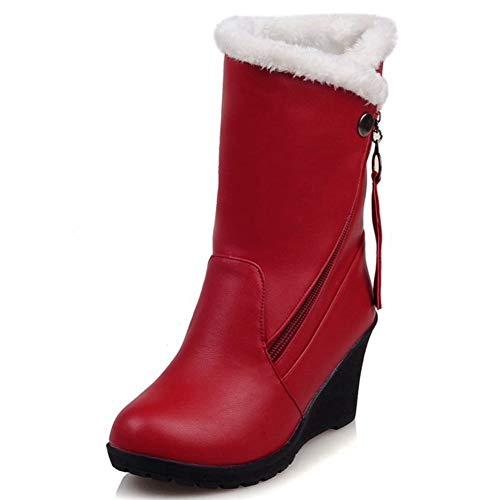Decostain Comfort Winter Snow Warm Soft Mid Calf Patent-Leather Wedge Boots Red