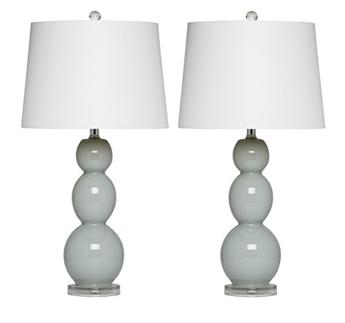 - Virtue Home Bellacina Modern Light Grey Glass Table Lamp, Set of 2, 27