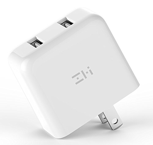 ZMI V2 Charger Wall Adapter for Apple iPhone X / 8/7 / 6 / Plus, iPad, Samsung Galaxy S9/S8/S7/S6/S5/Edge/Edge+, LG, Motorola and More, Foldable Prong Travel Plug Wall Charger with 2 USB Ports