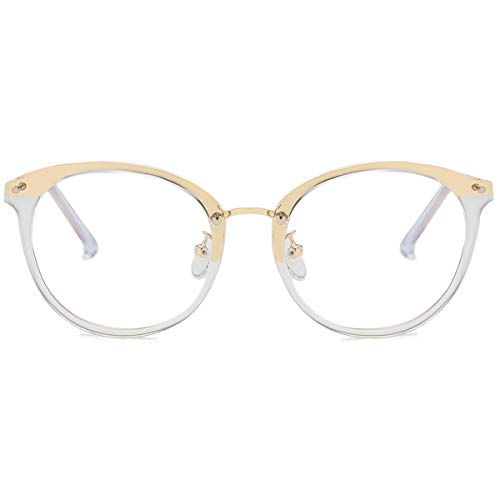 SOJOS Retro Round Blue Light Blocking Glasses TR90 Computer Eyeglasses Ashley SJ9001 with Crystal Frame/Anti-Blue Light Lens