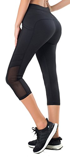 Sudawave Women's Workout Leggings With Pocket Running Tights Yoga Pants (Small, Mesh Capri Black) (Pocket Ankle Crop)