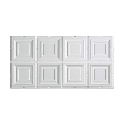Piece 2 Portrait Toilet (Fasade - 2ft x 4ft Portrait Matte White Glue Up Ceiling Tile/Ceiling Panel - Fast and Easy Installation (2' x 4' Tile))