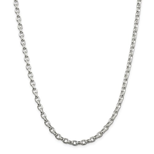 - 925 Sterling Silver 4.4mm Oval Polished Rolo Link Chain Necklace 24