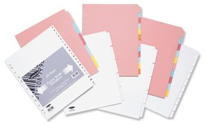 Concord Punched Pocket Subject Dividers Extra Wide 10-Part A4 Assorted Ref 72699 (72699) -