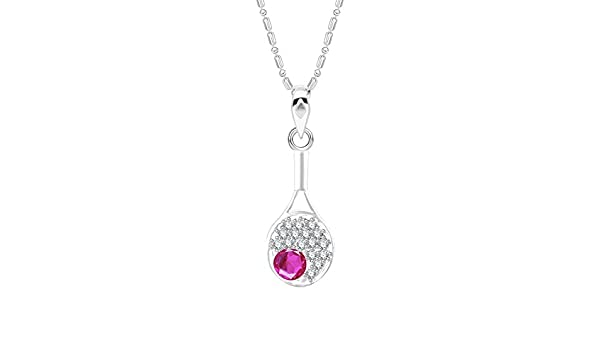 Suhana Jewellery Simulated Pink Ruby Studded Fashion Love Promise Heart Pendant Necklace in 14K White Gold Plated With Box Chain