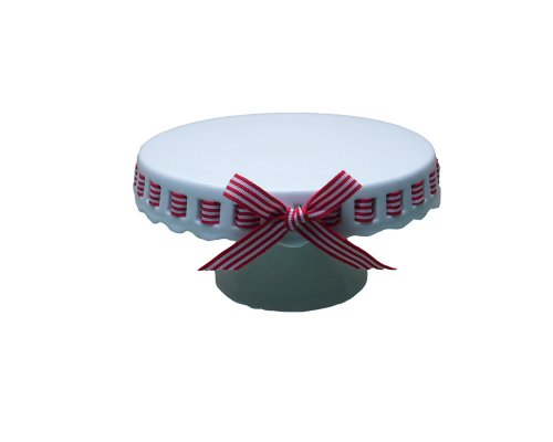 Gracie China 8-Inch Round Porcelain Skirted Cake Stand, Red and White Stripes Ribbon ()