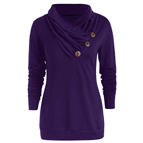 TIFENNY Fashion Solid Color Pulover for Women Casual Cowl Neck Button Embellished Long Sleeve T-Shirt Tops Purple