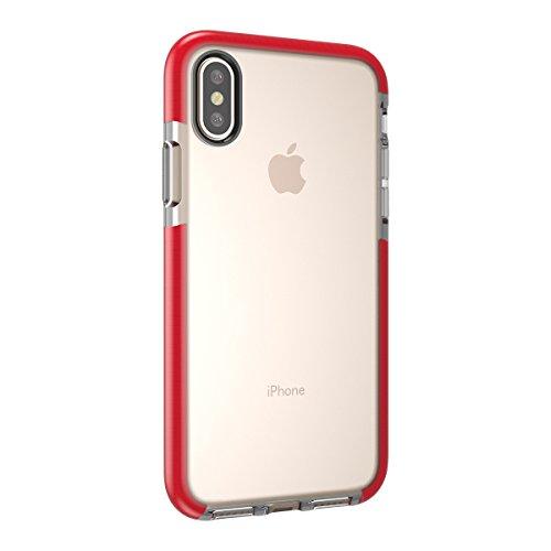 iPhone X Funda LifeePro Funda de Parachoques del Marco Híbrido Slim Fit TPU Suave Cubierta Trasera de la piel Protectora para iPhone X naranja rojo
