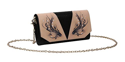 and Tooled Hand Handbags Black Leather Hand Clutch Fish Embossed Designer Crossbody Women Painted Bellorita CEqx5ZCdw