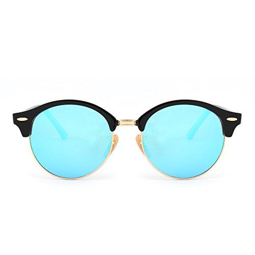 Retro Round Clubmaster Sunglasses Semi Rimless Browline Eyeglasses for Women Men (Shiny Black / Mirror - Glasses Horn Rimed