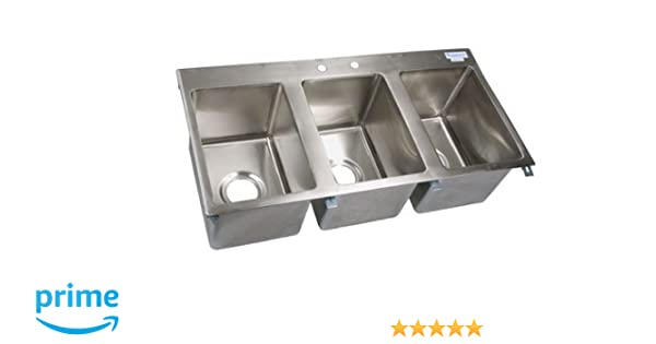 bk resources ss 3 compartment drop in sink 10x14x10 nsf bk dis 1014 3 - Three Compartment Kitchen Sink
