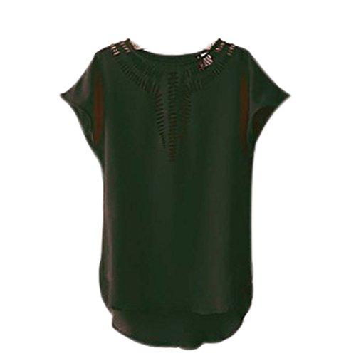 Unique Collo Rotondo Colori Eleganti Fashion Camicie Nero Chiffon Casuali Corta Solidi Irregular Donna Donna Sciolto Manica Camicetta Estivi Donne Camicie Classiche Bluse Camicia Tops Asimmetrica Hollow IzXAnqx8w