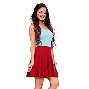 Mani Day Women's Stretchable Western Cotton Lycra High Waist Flared Royal Knit Skater Short Mini Skirt Maroon