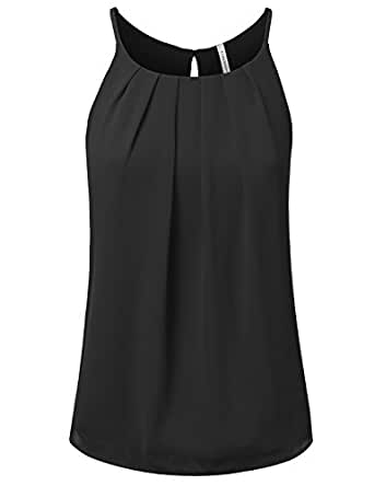 JJ Perfection Women's Round Neck Front Pleated Chiffon Cami Tank Top BLACK S