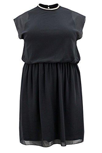 Curvylicious Women's Plus Size Dress Chain Trim Neckline Chiffon Cap Sleeve 18 Black