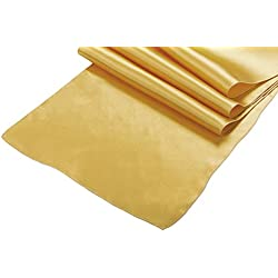 OWS Pack Of 10 Wedding 12 x 108 inch Satin Table Runner Wedding Banquet Decoration-Gold