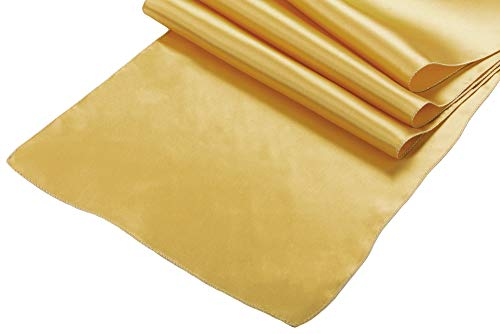 - OWS Pack Of 10 Wedding 12 x 108 inch Satin Table Runner Wedding Banquet Decoration-Gold