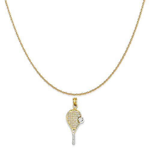 Mireval 14k Yellow Gold Polished Tennis Racquet Pendant on 14K Yellow Gold Rope Chain Necklace, 16