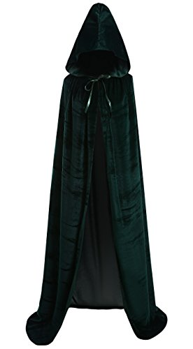 Zuozee Halloween Costumes Velvet Hooded Cape Cosplay Robe Green Cloak Black Masquerade Christmas Women Men