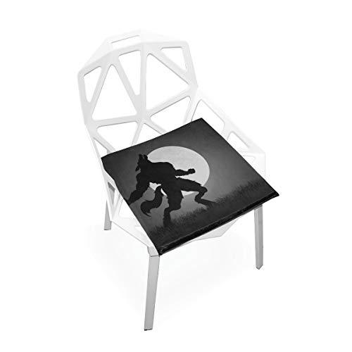 Foam Werewolf - Zaqiwa Chair Cushion Memory Foam Werewolf Silhouette Moon Night Soft Non-Slip Memory Foam Chair Pads Cushions Seat for Home Kitchen Office Desk 16x16 Inch Memoryfoam Chair Pads