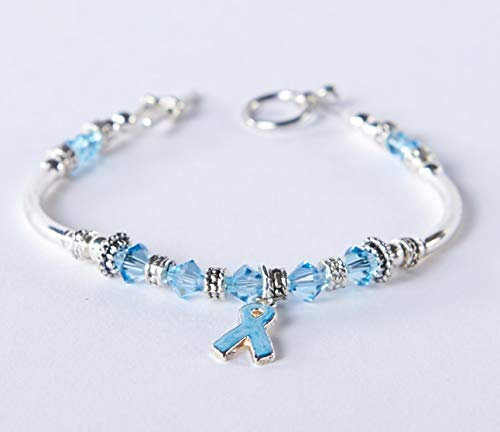 - Light Blue Prostate Cancer Awareness Bracelet : Swarovski Light Blue Ribbon Charm // Thyroid Disease, Graves, Addison's, Cushing, Edward's Syndrome. #01