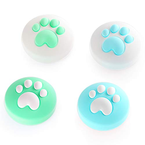 LeyuSmart Cat Paw Thumb Grip Caps, Joystick Cap for Nintendo Switch & Lite, Animal Crossing Horizons Accessories Soft Silicone Cover for Joy-Con Controller