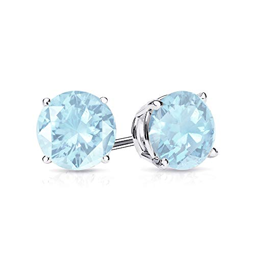 9mm Aquamarine Stud Earrings in 14k White Gold (4.5 CT.TW.)